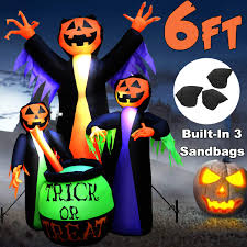 Outdoor Plastic Light Up Pumpkins 6ft Halloween Inflatable Outdoor Decor Blow Up Built In 4 Led Lights 3 Sandbags 2 Plastic Inserts 2 Iron Nails 2 Windproof Drawstrings For Halloween