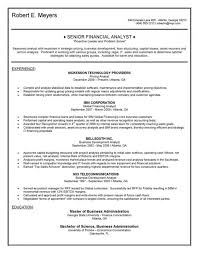 Financial Analyst Resume Cool Resume Template Senior Financial Analyst Resume Examples Free