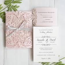 Elegant Invitation Cards Elegant Blush Pink Laser Cut Wedding Invitation With Gray Band Swws034 Stylishwedd