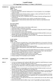 Game Artist Resume Sample Cmt Sonabelorg