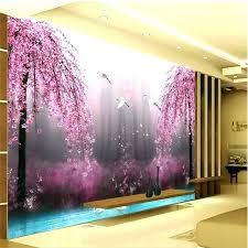 extraordinary bedroom wall art paintings romantic purple peach crane lake background photography mural living room decor