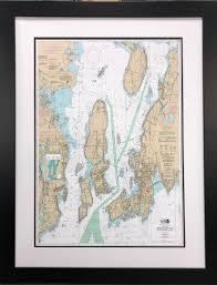 Framed Narragansett Bay Nautical Chart