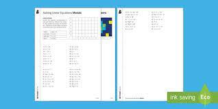 solving linear equations worksheet