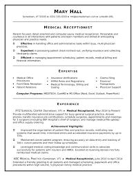 Resume Templates Hospital Receptionist Example Medical Sample