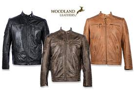 woodland leathers ltd mens real leather biker