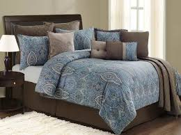 chocolate brown and blue comforter sets fancy blue and brown paisley bedding 53 on ivory duvet
