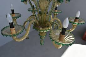 Muranese Kronleuchter Aus Murano Glas 6 Armig Kristall Gold