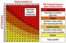 Heat Exhaustion Heat Stroke Chart Heat Index Definition