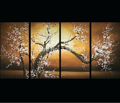 wall art set of 4 hand painted modern abstract flowers oil paintings 4 piece wall decor cherry blossoms canvas art set pictures for home in painting