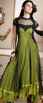 Frock Suit Neck Design Parrot Green Net Embroidered Churidar Kameez With Dupatta
