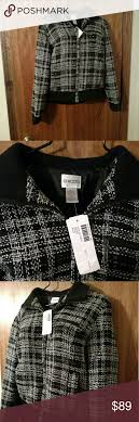 New Chicos Plaid Tweed Zip Bomber Jacket New With Tags