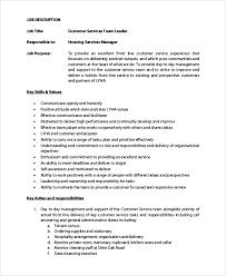 9 Team Leader Job Description Samples Examples Templates