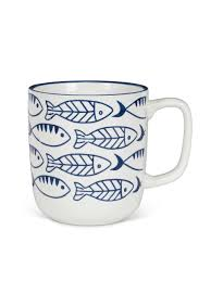 Coffee shop in escondido, california. White Ceramic Blue White Swimming Fish Coffee Mug 4 Height 12 Oz Zz20212 American Chateau