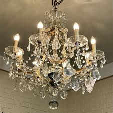 french 8 branch crystal chandelier with central uplighter