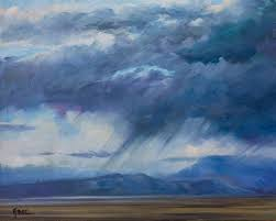original western landscape fine art oil painting storm over grand mesa by colorado artist nancee jean busse painter of the american west