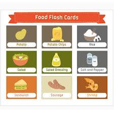 Food Flash Cards 7pcs Set Learn English Food Words Card Flash Cards A4 Plastic Card