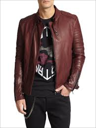 arrow mens red leather zipper biker jacket