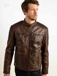 jordan men s brown leather biker jackets from our wide range of biker style leather jackets for men superbly detailed dark antique brown shade leather