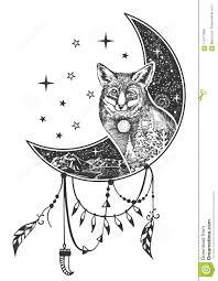 татуировка лисы Boho вектора или дизайн печати футболки иллюстрация