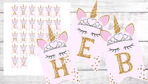 Unicorn Princess Birthday Banner Diy Printable Free Alphabet