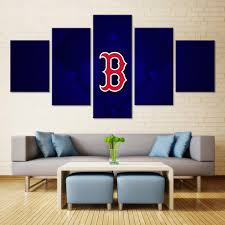 boston red sox blue background  on boston red sox canvas wall art with 5 panel boston red sox blue background baseball sports canvas