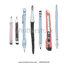 office drawing tools. hand drawn stationery set vector doodle illustration of school accessories and supplies office drawing tools