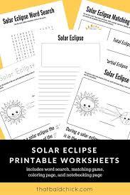 FREE Printable Solar Eclipse Worksheet Pack