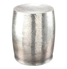 hammered metal side table amazing drum accent interior design 24