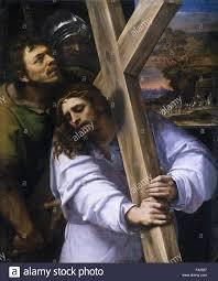 sebastiano del piombo carrying the cross stock image