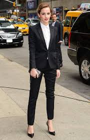 how to dress business casual at work and not look boring emma watson classis black suit