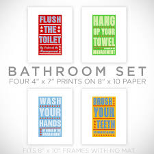 kids room art bathroom decor set of 4 prints by order of the management  on bathroom wall art prints with kids room art bathroom decor set of 4 prints by order of the