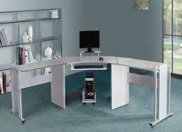 image corner computer. White Glass Corner Computer Desk Image