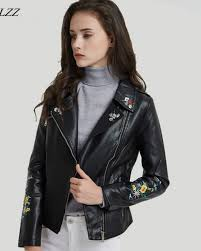 ftlzz print embroidery pu leather jacket women coat casual fl faux leather biker motorcycle short coats outerwear