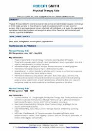 Physical Therapy Aide Resume Samples Qwikresume