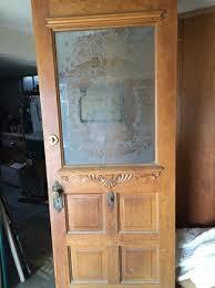 antique victorian door with etched
