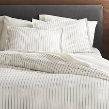 linen wide stripe warm white full queen duvet cover reviews crate and barrel