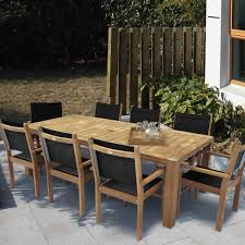 royal teak collection captiva 8 person sling dining set w 96 inch expansion table