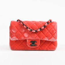 CHANEL Velvet Quilted Handbags & Purses | eBay & Chanel Coral Pink Velvet & Leather Quilted Crossbody
