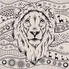 Vektorová Grafika Kresba Hlavy Lva Na Africké Etno Ručně Kreslený