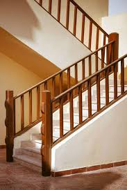 modern wooden stairs railing design wood stair designs interior with carpeted