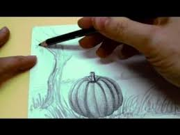 pumpkin drawing with shading. pencil drawing techniques - how to shade and blend pumpkin with shading n