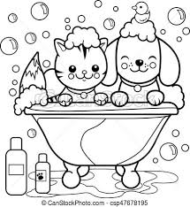 dog and cat taking a bath coloring book page csp47678195