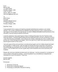 Teacher Assistant Cover Letter Well Snapshoot For Teaching Position