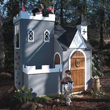 castle outdoor playhouse with boy little knights and grey wall colors also 2nd story