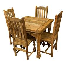 Rustic mango wood plank top butterfly table & four chairs