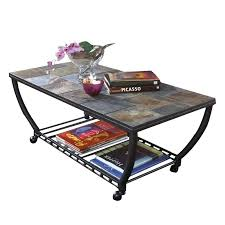 slate tile coffee tables slate tile rectangular coffee table and casters in black slate tile coffee table set