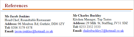 How To Type References For Resume References On A Cv Benefits Format And Referee Examples