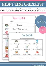 Somewhat Simple Chore Chart Nighttime Routine Printable Bedtime Checklist For Kids