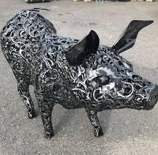 unique handcrafted large metal pig garden ornament sculpture