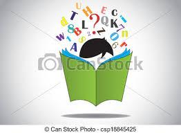 kid reading open book alphabets csp18845425
